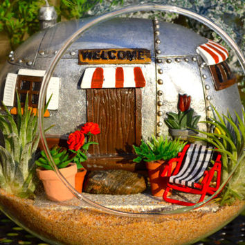 "Camper Terrarium Kit ~ Retirement Gift ~ 8"" Glass Globe ~ Patio ~ RV ~ Lounge Chair ~ 2 Air plants ~ The Good Life ~ Vacation ~ Gift Idea"