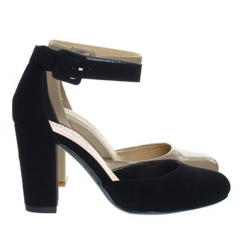 Kaili By Classified, Chunky Block Heel Pump w Comfortable Foam Padding & Ankle Strap