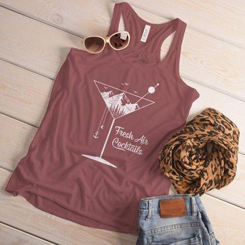 Women's Hipster Tank Fresh Air Cocktails Nature Graphic Tee Martini Glass Mountains Top
