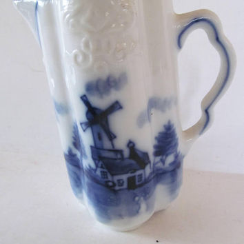 Antique Delft Blue Pitcher Pictorial Scene Flow Blue Delft Pitcher Blue China Blue Porcelain Creamer Holland Windmill Decor Delft Blue Decor