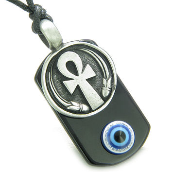Ankh Egyptian Power of Life Amulet Spiritual and Evil Eye Black Agate Pendant Necklace