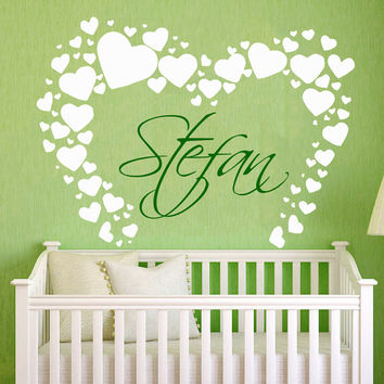 Name Wall Decal Nursery PERSONALIZED BABY NAME Vinyl Sticker Love Hearts Art Murals Home Interior Design Kids Bedroom Nursery Decor KI123