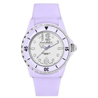 Haurex Italy Women's PL379DWL Beauty Lilac White Dial Rotating Bezel Crystal Watch