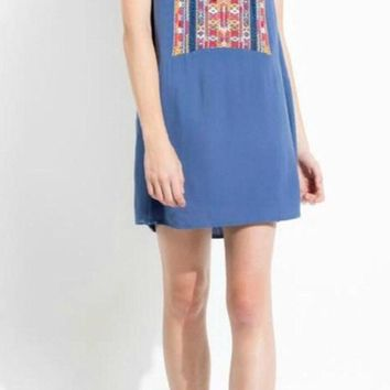 Gina THML Embroidered Blue Tunic Dress