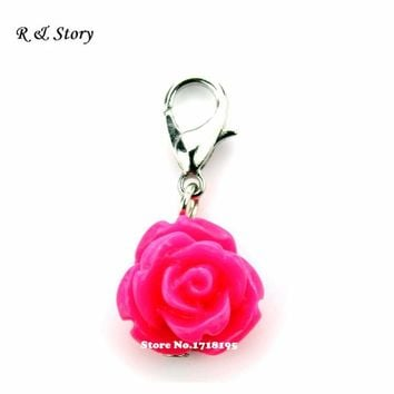 Hot sale Red Coral Rose Flowers Dangle Charms Fit Bracelet Necklace Locket LFD_065