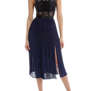 self-portrait Sleeveless Pleated Lace Dress | Blue&Cream