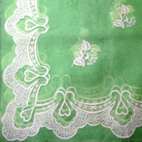 Vintage Sheer Green Organza Fabric Panel with White Flocked Flowers and Border from 1950s or 1960s - Very Pretty!