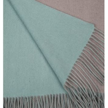 Platinum and Meadow Wool / Cashmere Double-Faced Throw