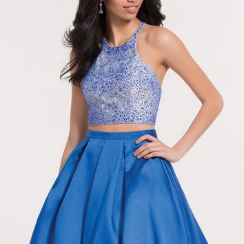 Alyce 3747 Two Piece Shimmer Crop Top Dress