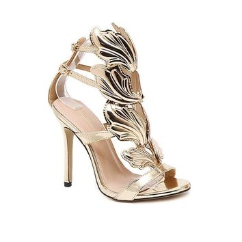 Csdm Women Stiletto Heel Metal Wings High Heeled Exposed Toe Sandals Gold Nude Black