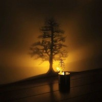 Novelty LED Shadow Projection Night Light Home Decor Candle Like LED Light