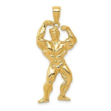 14K Yellow Gold Weightlifter Necklace Charm