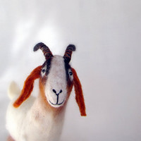 Grethe - Felt Goat. Felted  Art Marionette Puppet Stuffed Animals. Felted Toy. white brown red reddish orange. Special order for Teresa