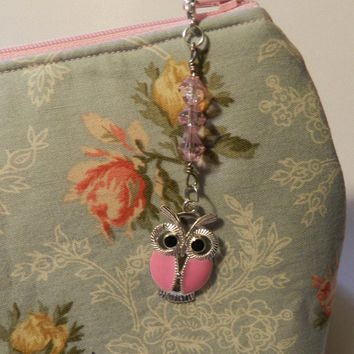 Pink Silver Owl  Zipper pull Purse Pull Hoodie Pull Back Pack Pull  V4663