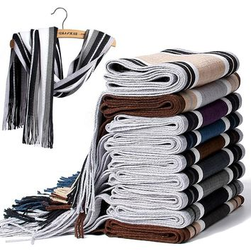 Men's Winter Striped Cotton Scarf