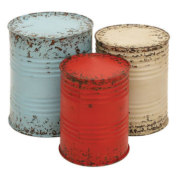 Metal Drum Table Set Of 3  Accent Collection