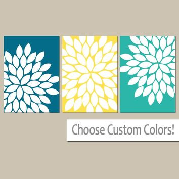 Flower Wall Art, Turquoise Yellow Green, Flower Bedroom Art, Canvas or Prints, Floral Bathroom Decor, Flower Burst Petals, Set of 3 Pictures