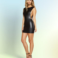 Roma Wet Look Mini Dress with Open Cutout Side Detail