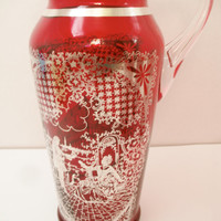 Venetian Bright Red Glass Pitcher Set Silver Overlay Design
