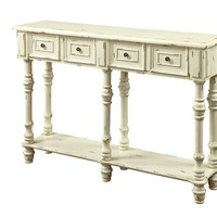 "Antique White 48""L Traditional Console Table"