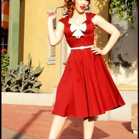 The Heidi Dress in Ruby with Creme Bow