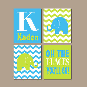 ELEPHANT Wall Art CANVAS or Prints Baby Boy Nursery Elephant Wall Art Green Blue Boy Elephant Nursery Bedroom Chevron Oh The Places Set of 4