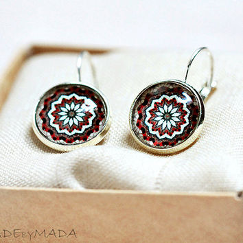 Brown and Maroon Leverback earrings fall colors Manadala , gift for her from MADEbyMADA