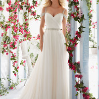 Morilee Bridal Madeline Gardner Asymmetrically Draped Bodice with Soft Tulle Skirt and Beaded Waistband Wedding Dress | Style 6814 | Morilee