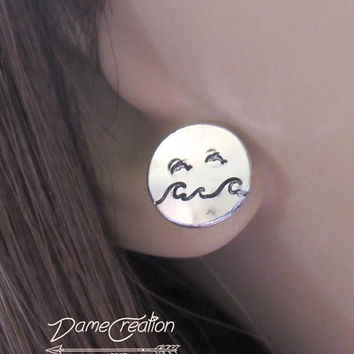 Christmas Earrings for Girls, Silver Disc Earrings Studs, Dolphin Ocean Fish, Marine Biology Jewelry, Dolphin Stud Earring