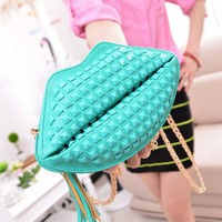 PU Leather Lip Shoulder Bag