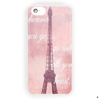 Travel Quote, Eiffel Tower In Paris For iPhone 5 / 5S / 5C Case