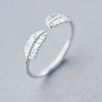 Animal Brids Double Feather Angel Wings Open Ring 100% REAL.925 Sterling Silver fINE jEWELRY GTLJ1281