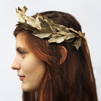 Gold Leaf Tiara - Metallic Gold, Greek Goddess Crown. Leaf Headband, Princess Crown, Fairy Crown, Leaf Headdress.
