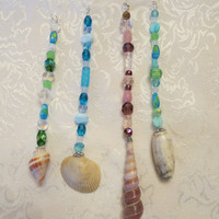 Beaded Genuine Shell Rearview Mirror Charms Beachy Suncatchers Summertime Vehicle Accessories