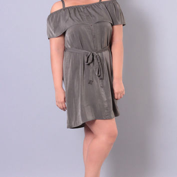 Plus Size Off-The-Shoulder Silk Dress - Olive