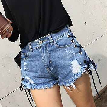 Lace Up Pure Color High Waist Denim Loose Shorts