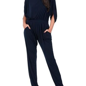 Black Plain Cut Out Pockets Pleated Elbow Sleeve Long Jumpsuit