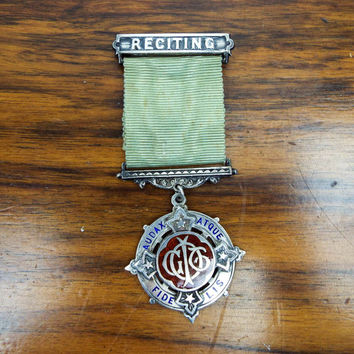 Antique IOGT Silver Reciting CTU Medallion Prize