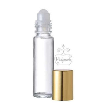 24 Clear Glass Roll On Bottles with Gold Cap - 10 ML Essential Oil Aromatherapy METALLIC Gloss Perfume Cologne SHINY