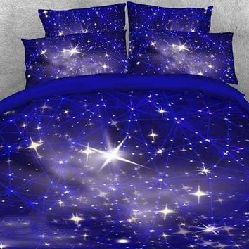 3D Twinkling Stars and Galaxy Printed Luxury 4-Piece Blue Bedding Sets/Duvet Covers