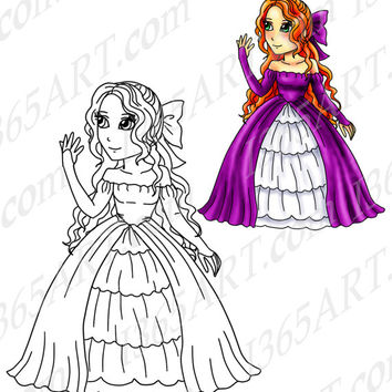 Digital Stamp, Coloring Page Line Art Illustration For Children and Clipart, Beautiful Princess Anime Character 8 x 10 Instant Download