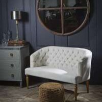 Rustic Canvas Tufted Sofa