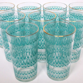 Vintage Aqua Tumblers, Turquoise Glasses, Retro Tumblers, Mid Century Glassware, Set of 9, Tumbler Set, 10 oz Tumblers, Retro Bar Glasses