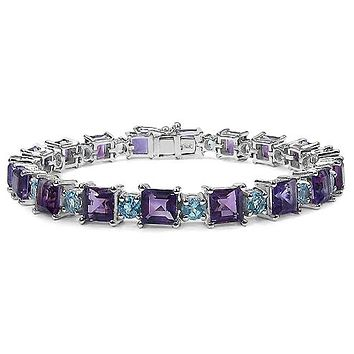 A Special Edition 23.76TCW Natural Purple Amethyst & Blue Topaz Bracelet