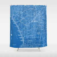 Street Map of Los Angeles Shower curtain - fabric curtain, map, streets of LA, historical Hollywood, beach cities, blue and white