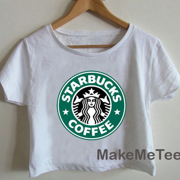 New STARBUCKS COFFEE Funny Logo Printed Crop top Tank Top Women Black and White Tee Shirt - MM1