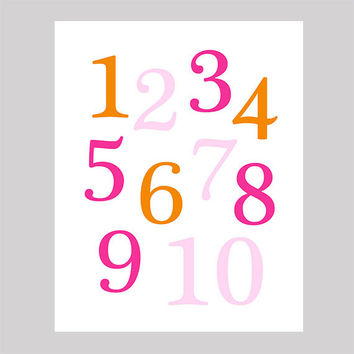 Instant Download Numbers Hot Pink Orange Print CUSTOM COLORS Animals digital nursery decor art baby room decor print digital download 8x10