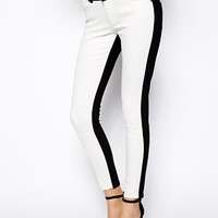 ASOS Whitby Low Rise Skinny Ankle Grazer Jeans in Mono Panel - Multi