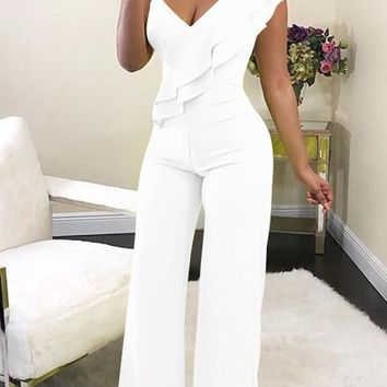 White Ruffle Asymmetric Shoulder Elastic Waist Long Jumpsuit