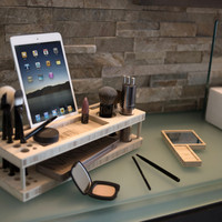 The Original Beauty Station: Makeup Organizer and Display Case with Docking Station
